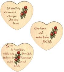 Bild Herz mit Rose und Spruch aus Holz