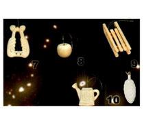 Bild Baumschmuck Harfe, Apfel, Schlitten, Gießkanne, Tannenzapfen 6 cm aus Holz