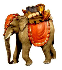 Bild Krippentier Elefant mit Gepäck aus Ahornholz geschnitzt