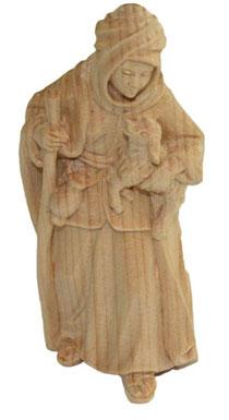 Bild Krippenfigur Hirtin mit Lamm und Stock handgeschnitzt aus Zirbenholz