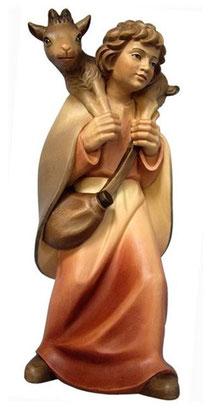 Bild Krippenfigur Mirja Hirt mit Ziege aus Ahornholz geschnitzt