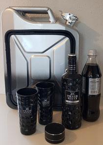 KanisterBar mit einer besonderen 𝐿𝑎𝑐𝑘𝑖𝑒𝑟𝑢𝑛𝑔 in silber-schwarzen Optik abgestimmt, mit Bluetooth- Box, Innenbeleuchtung, abschließbar. Befüllt mit den edlen Three Sixty Vodka und den Originalgläsern
