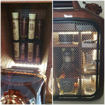 """Kanisterbar mit Bluetooth-Box, Beleuchtung mit Bewegungsmelder, edle Zigarren, Zigarrenschneider, Pokerspielkarten und dem edelsten Whisky """"Jack Daniels Single Barrel Select"""""""