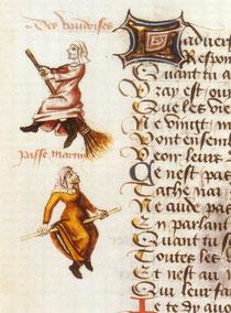 """Hexenflug der """"Vaudoises"""" (hier Hexen, ursprünglich Waldenser) auf dem Besen, Miniatur in einer Handschrift von Martin Le France, Le champion des dames, 1451."""