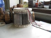 Stator fertig bewickelt, verschaltet und bandagiert