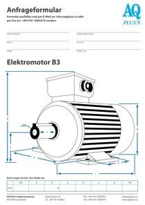 B3 Fußmotor, leere Maßskizze um die Hauptmaße einzutragen