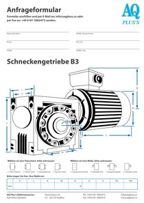 B3 Fußschneckengetriebe, leere Maßskizze um die Hauptmaße einzutragen