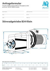 B14kl Flanschstirnradgetriebe, leere Maßskizze um die Hauptmaße einzutragen