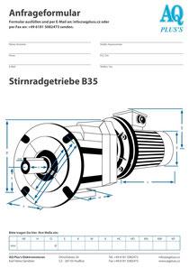 B35 Fuß/Flansch-Stirnradgetriebe, leere Maßskizze um die Hauptmaße einzutragen