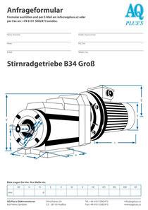 B34gr Fuß/Flansch-Stirnradgetriebe, leere Maßskizze um die Hauptmaße einzutragen