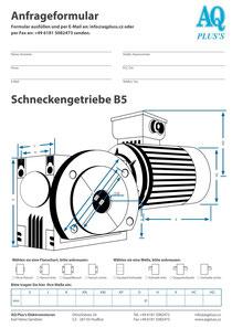 B5 Flanschschneckengetriebe, leere Maßskizze um die Hauptmaße einzutragen