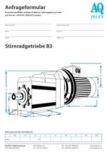 B3 Fußstirnradgetriebe, leere Maßskizze um die Hauptmaße einzutragen