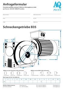B35 Fuß/Flansch-Schneckengetriebe, leere Maßskizze um die Hauptmaße einzutragen