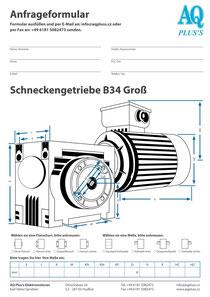 B34gr Fuß/Flansch-Schneckengetriebe, leere Maßskizze um die Hauptmaße einzutragen
