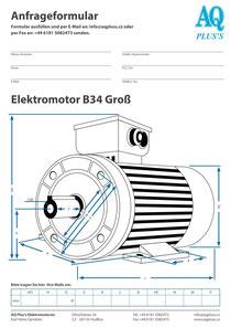 B34gr Fuß/Flansch-Motor, leere Maßskizze um die Hauptmaße einzutragen