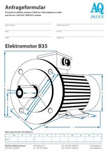 B35 Fuß/Flansch-Motor, leere Maßskizze um die Hauptmaße einzutragen