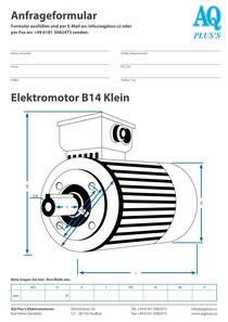 B14kl Flanschmotor, leere Maßskizze um die Hauptmaße einzutragen