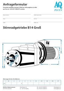 B14gr Flanschstirnradgetriebe, leere Maßskizze um die Hauptmaße einzutragen