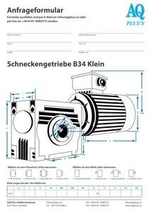 B34kl Fuß/Flansch-Schneckengetriebe, leere Maßskizze um die Hauptmaße einzutragen