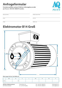 B14gr Flanschmotor, leere Maßskizze um die Hauptmaße einzutragen