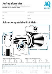 B14kl Flanschschneckengetriebe, leere Maßskizze um die Hauptmaße einzutragen