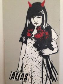 Ein Bild von ALIAS aus dem Jahr 2007. Street Art - devil girl - gift by a stranger