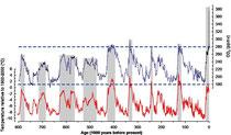 CO2 Schwankungen innerhalb der letzten 800.000 Jahre. Mit freundlicher Erlaubnis von Dieter Lühti