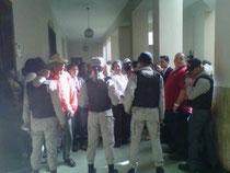 Agentes de la Policía Nacion de puesto en el Palacio de Justicia de Ciudad Nueva.