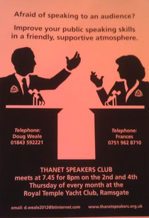 Thanet Speakers Club poster with link to their website