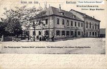 """Das Poster von """"Die Mitschuldigen"""" entstand durch Veränderung einer alten Postkarte des Radebeuler Gasthauses """"Heiterer Blick"""""""
