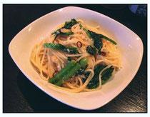 青菜と塩麹のぺペロンチーノ