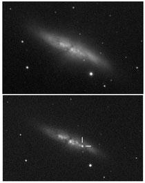 Das Kreuz auf dem zweiten Foto markiert die Position der Supernova - auf dem ersten Foto vor dem helligkeitsausbruch ist der Stern noch nicht zu sehen.