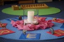 Runde Teppiche der Firma Tretford. Spende an die Montessori Schule Wesel
