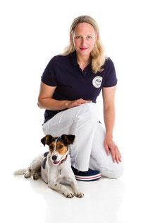 Veterinarian Anne Gamalski with her dog Pemba