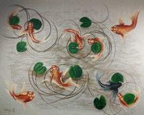 Koi fish 2020, mixed-media, canvas 170×130 cm