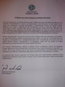 Ein Grußwort des DFB- Präsidenten aus Anlass unseres 2-jährigen Bestehens.