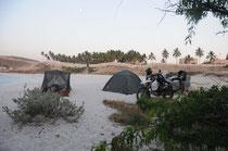 Übernachten am Strand von Salalah.