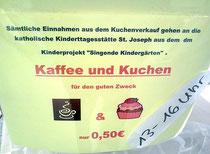 Kuchenverkauf in der DM-Filiale in der Nachbarschaft (2013)
