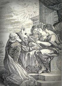 Galilei zeigt die Jupiter-Monde, Lizenz: public domain