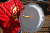 Sonnenstrahlen parallel zum Teller