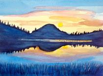 Lake Sunrise, Mixed Media, 10.5 x 8.5