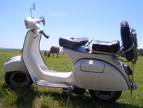 white Vespa Super 150