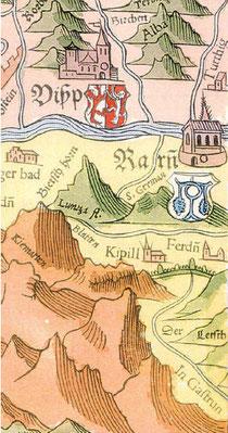 """Abb. 1: Die älteste Darstellung des Passes findet sich in der von Sebastian MÜNSTER 1545 herausgegebenen Walliserkarte, die nach den Aufnahmen des Walliser Johannes Schalbetter entstanden ist. Der Pass trägt die Bezeichnung """"der Letsch"""". (AERNI, IVS VS 31"""
