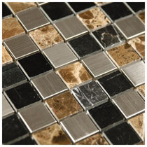 Emperador Dark marble and black marble are blended with stainless squares
