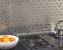 Stainless steel basketweave mosaic