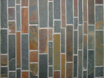 Stacked Slate and Quartzite in various shades of cream, green, brown, and gold