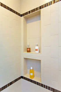 Recessed shower shelf