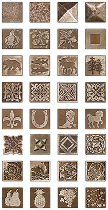 Decorative bronze tiles with patterns