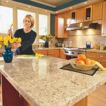 Light-colored granite tile countertops