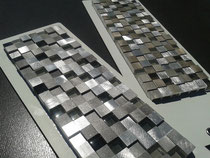Square metal and glass mosaics - perfect for your fireplace remodel in Renton, Auburn, Bellevue, or Federal Way